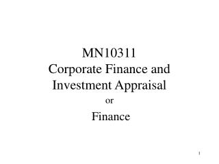 MN10311 Corporate Finance and Investment Appraisal