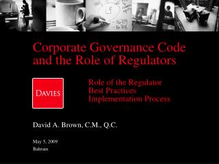 Corporate Governance Code and the Role of Regulators