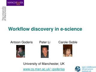 Workflow discovery in e-science