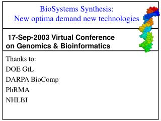 BioSystems Synthesis:  New optima demand new technologies
