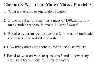Chemistry Warm Up: Mole / Mass / Particles