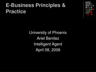 E-Business Principles & Practice