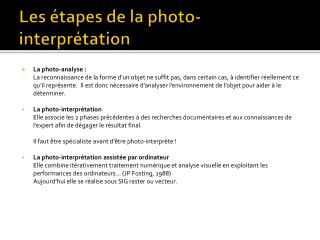 Les étapes de la photo-interprétation