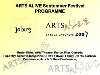 ARTS ALIVE September Festival PROGRAMME
