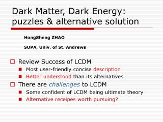 Dark Matter, Dark Energy: puzzles & alternative solution