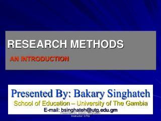 RESEARCH METHODS AN INTRODUCTION