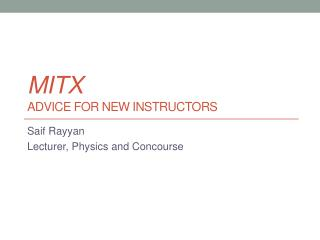 MITx Advice for new instructors