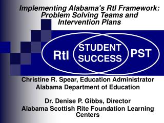 Christine R. Spear, Education Administrator Alabama Department of Education Dr. Denise P. Gibbs, Director Alabama Scotti