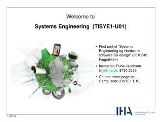 Welcome to  Systems Engineering  (TISYE1-U01)