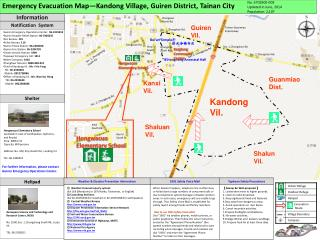 Emergency Evacuation Map—Kandong Village, Guiren District, Tainan City