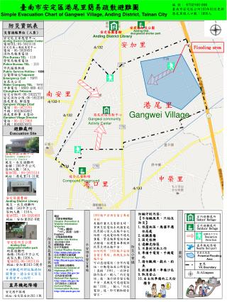 臺南市安定區港尾里簡易疏散避難圖 Simple Evacuation Chart of Gangwei Village, Anding District, Tainan Cit