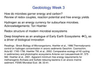 Geobiology Week 3 How do microbes garner energy and carbon?