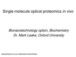 Single-molecule optical proteomics in vivo
