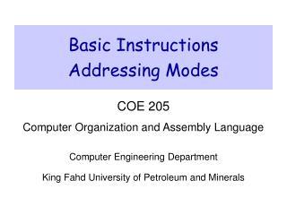 Basic Instructions Addressing Modes