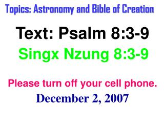 Topics: Astronomy and Bible of Creation