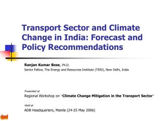 Transport Sector and Climate Change in India: Forecast and Policy Recommendations