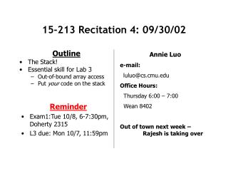 15-213 Recitation 4: 09/30/02