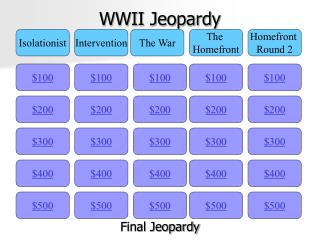 WWII Jeopardy