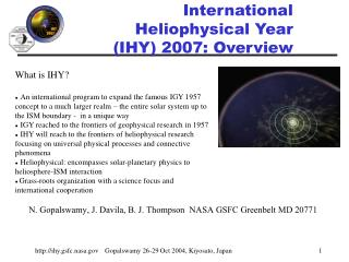 International Heliophysical Year  (IHY) 2007: Overview