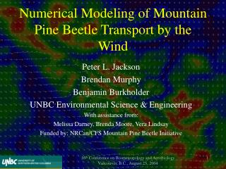 Numerical Modeling of Mountain Pine Beetle Transport by the Wind
