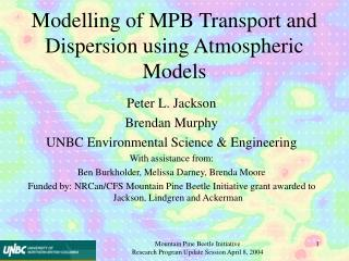 Modelling of MPB Transport and Dispersion using Atmospheric Models