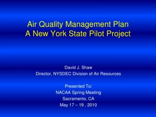 Air Quality Management Plan A New York State Pilot Project