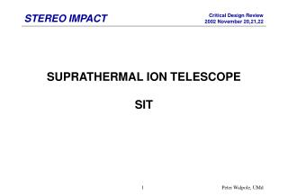 SUPRATHERMAL ION TELESCOPE SIT