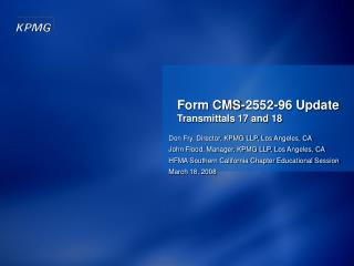 Form CMS-2552-96 Update Transmittals 17 and 18