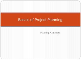 Basics of Project Planning