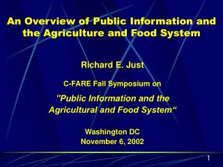 An Overview of Public Information and the Agriculture and Food System
