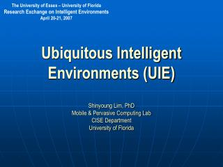 Ubiquitous Intelligent Environments (UIE)