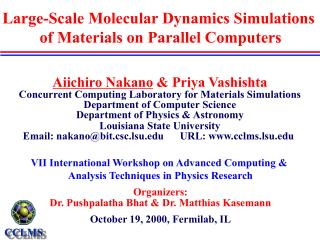 Large-Scale Molecular Dynamics Simulations  of Materials on Parallel Computers