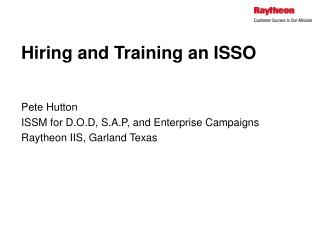 Hiring and Training an ISSO
