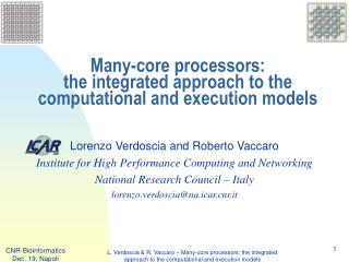 Many-core processors:  the integrated approach to the computational and execution models