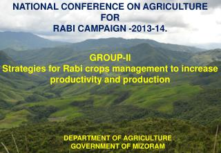 NATIONAL CONFERENCE ON AGRICULTURE FOR RABI CAMPAIGN -2013-14.