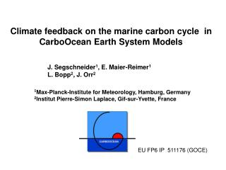 Climate feedback on the marine carbon cycle  in CarboOcean Earth System Models