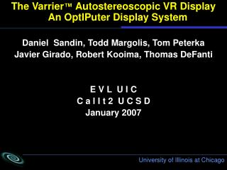 The Varrier ™  Autostereoscopic VR Display    An OptIPuter Display System