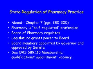 State Regulation of Pharmacy Practice