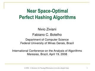 Near Space-Optimal Perfect Hashing Algorithms