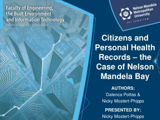 Citizens and Personal Health Records – the Case of Nelson Mandela Bay