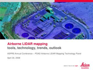 Airborne LIDAR mapping tools, technology, trends, outlook