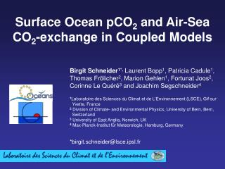 Surface Ocean pCO 2  and Air-Sea CO 2 -exchange in Coupled Models