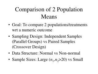 Comparison of 2 Population Means