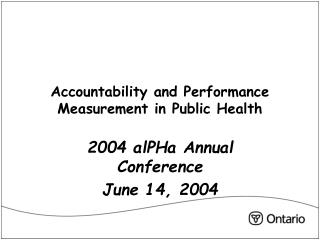 Accountability and Performance Measurement in Public Health
