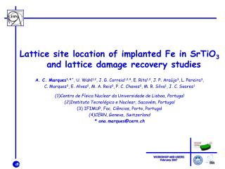 Lattice site location of implanted Fe in SrTiO 3  and lattice damage recovery studies