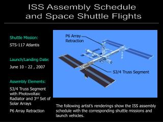 Shuttle Mission: STS-117 Atlantis Launch/Landing Date: June 10 - 22 , 2007 Assembly Elements: