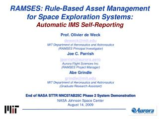RAMSES: Rule-Based Asset Management for Space Exploration Systems: Automatic IMS Self-Reporting