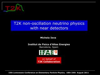 15th Lomonosov Conference on Elementary Particle Physics,  18th-24th  August 2011