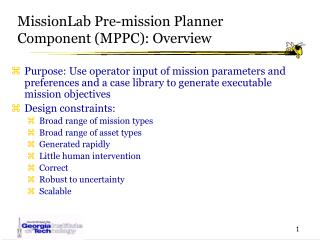 MissionLab Pre-mission Planner Component (MPPC): Overview
