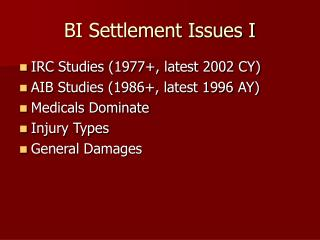 BI Settlement Issues I